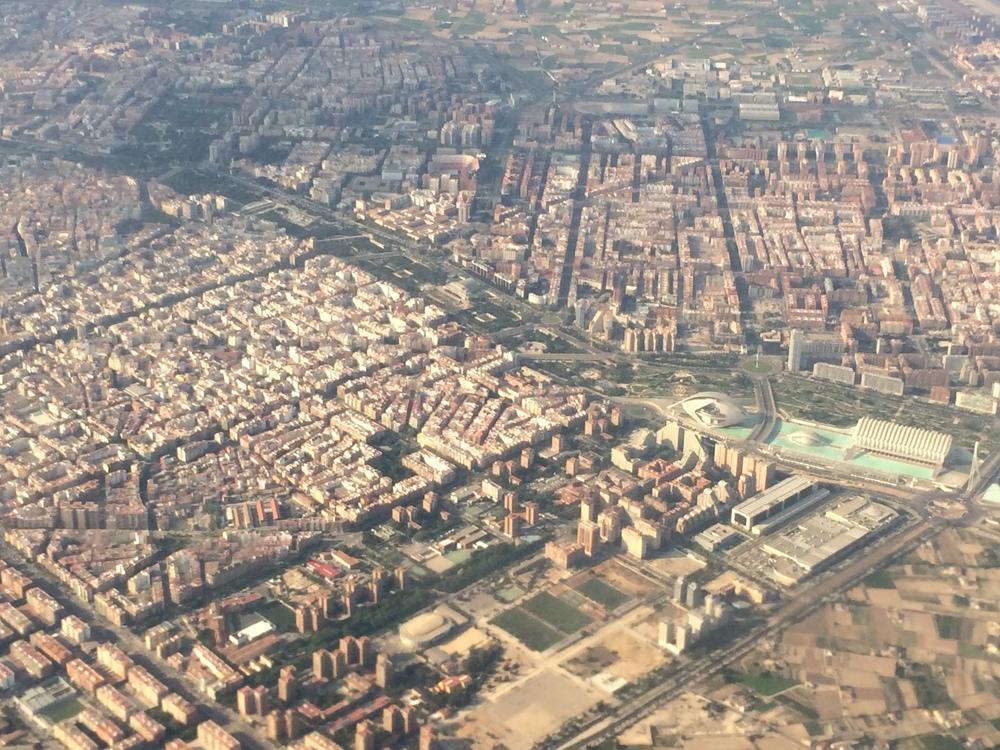 View of the Jardin del Turia and the Ciudad de las Artes y las Ciencias from my plane.