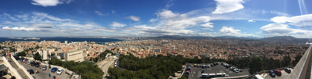 View from the top of Marseille next to Notre-Dame de la Garde.