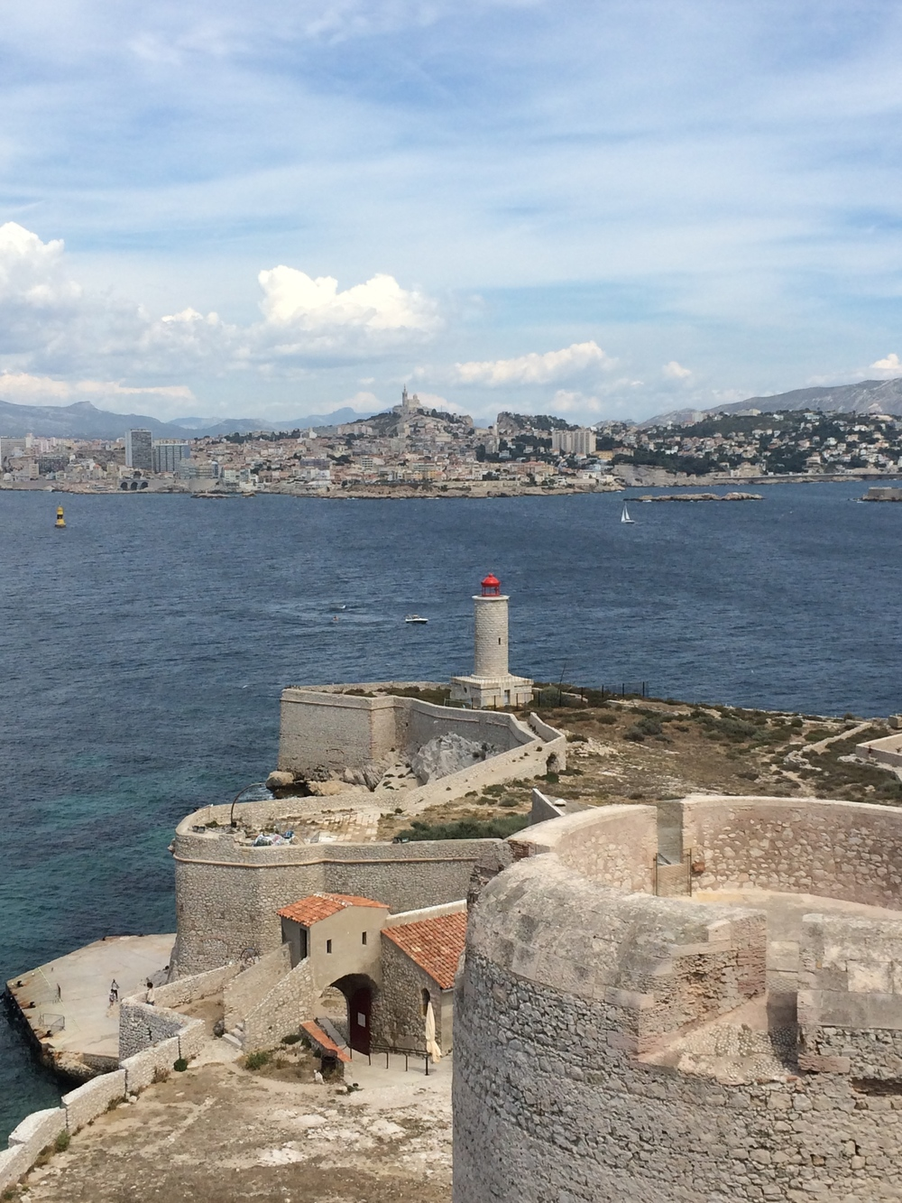 View from the top of Chateau d'If with Marseille in the background.