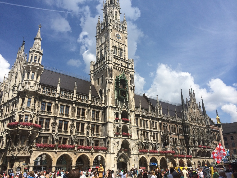View of city hall from the main square in Munich, Marienplatz.