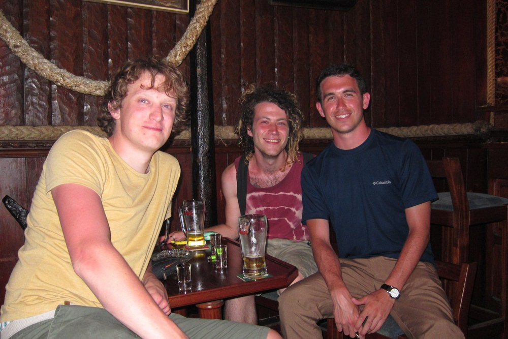 My very first night abroad in Faro, Portugal. Stephan is on the left and Tom in the middle.