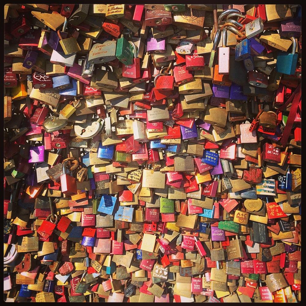 The many love locks coveringHohenzollernbrücke. I've never seen so many in my life.