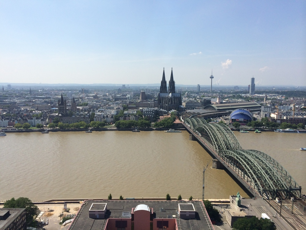 View of Cologne from the top of Köln Triangle Tower across the Rhine River. Much better at night. :)