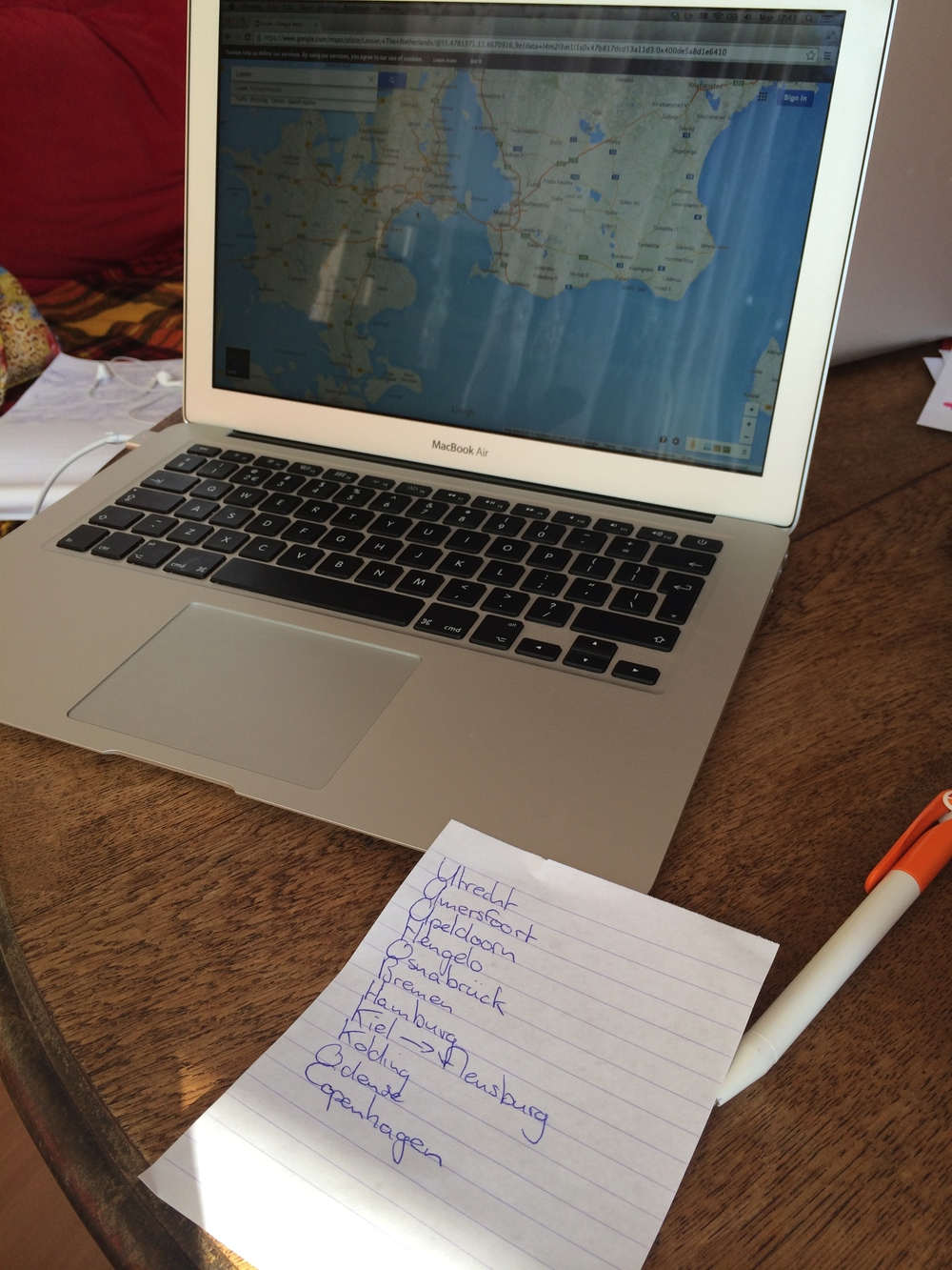 This was the extent of our planning, ten minutes on the computer and a piece of paper, there would be no electronics on this trip.