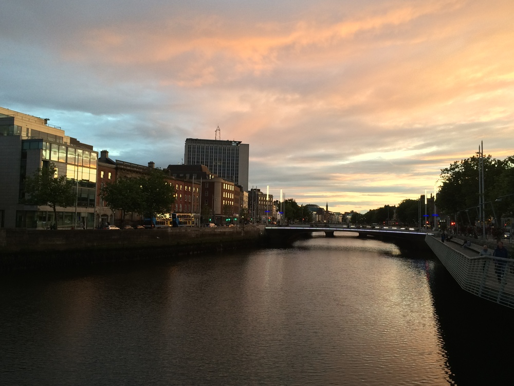Sunset in Dublin, Ireland over the Liffey River.