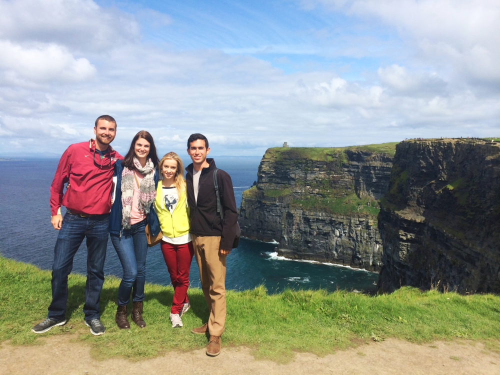 The Cliffs of Moher with new friends! From left to right: Dustin, Rachel, Angela, and me.