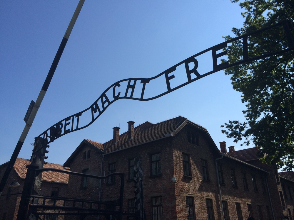 """The infamous""""Arbeit macht frei"""" (""""Work Makes (you) Free"""")sign at the entrance to Auschwitz I."""