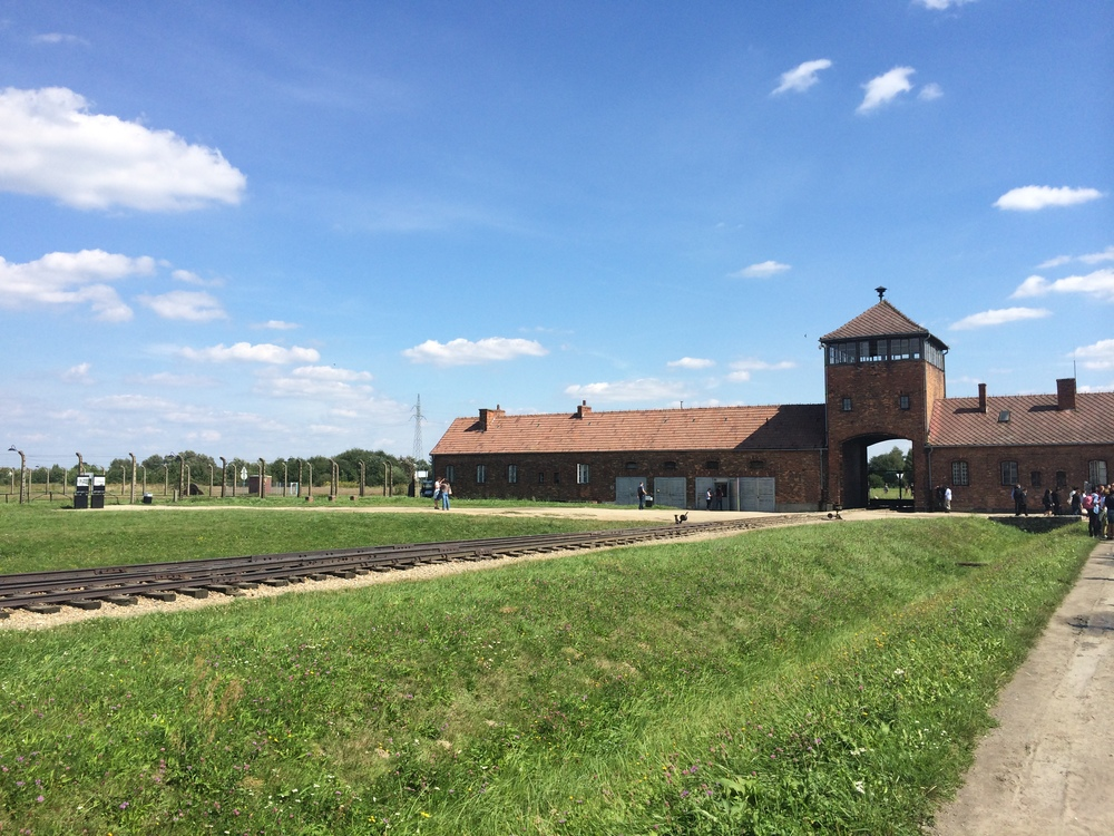 The iconic entrance to Auschwitz II - Birkenau.