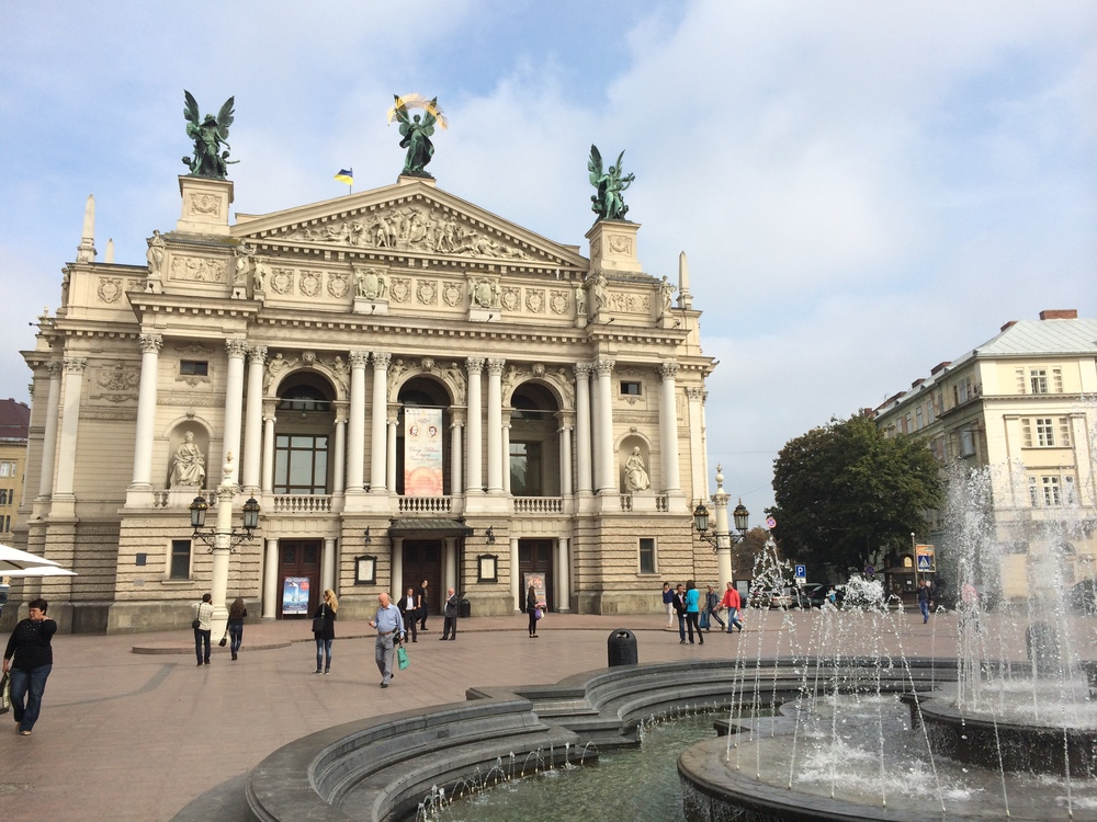 The Lviv Theatre of Opera and Ballet in the heart of the city.
