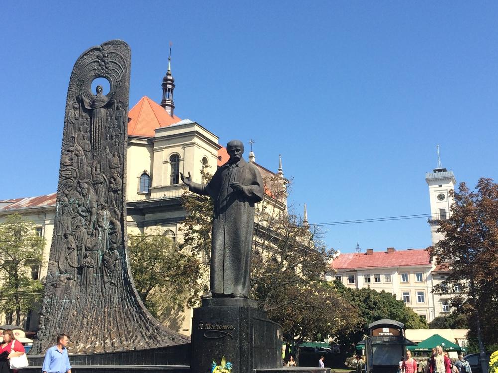 TheTaras Shevchenko Monument in heart ofLviv.