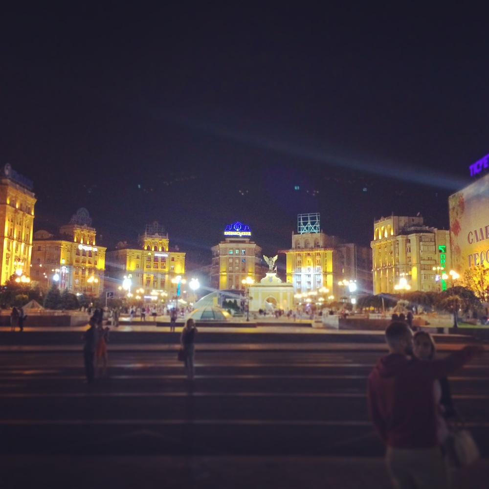 View of Kiev city center at night from Independence Square.