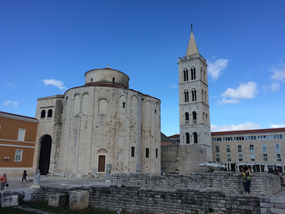 The old roman ruins and St. Anastasia bell tower in old town Zadar.
