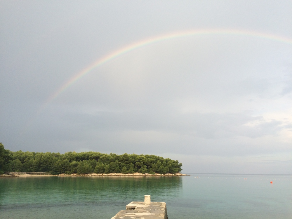 A nice little rainbow right before the second round of storms hit the next morning.