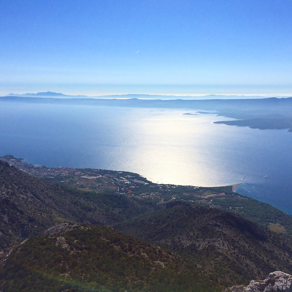View of the Croatian islands from the top of Brac Island.