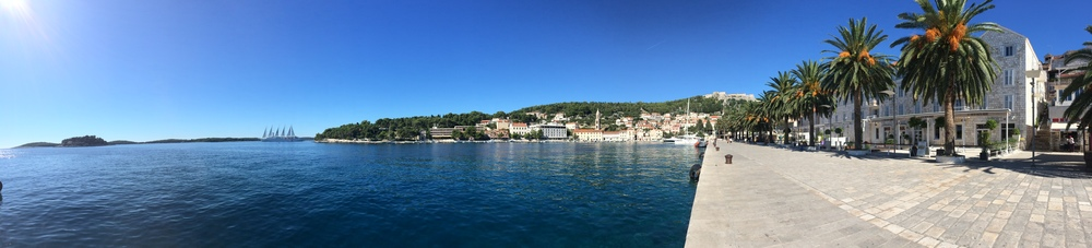 Panoramic shot of Hvar port in the city center.