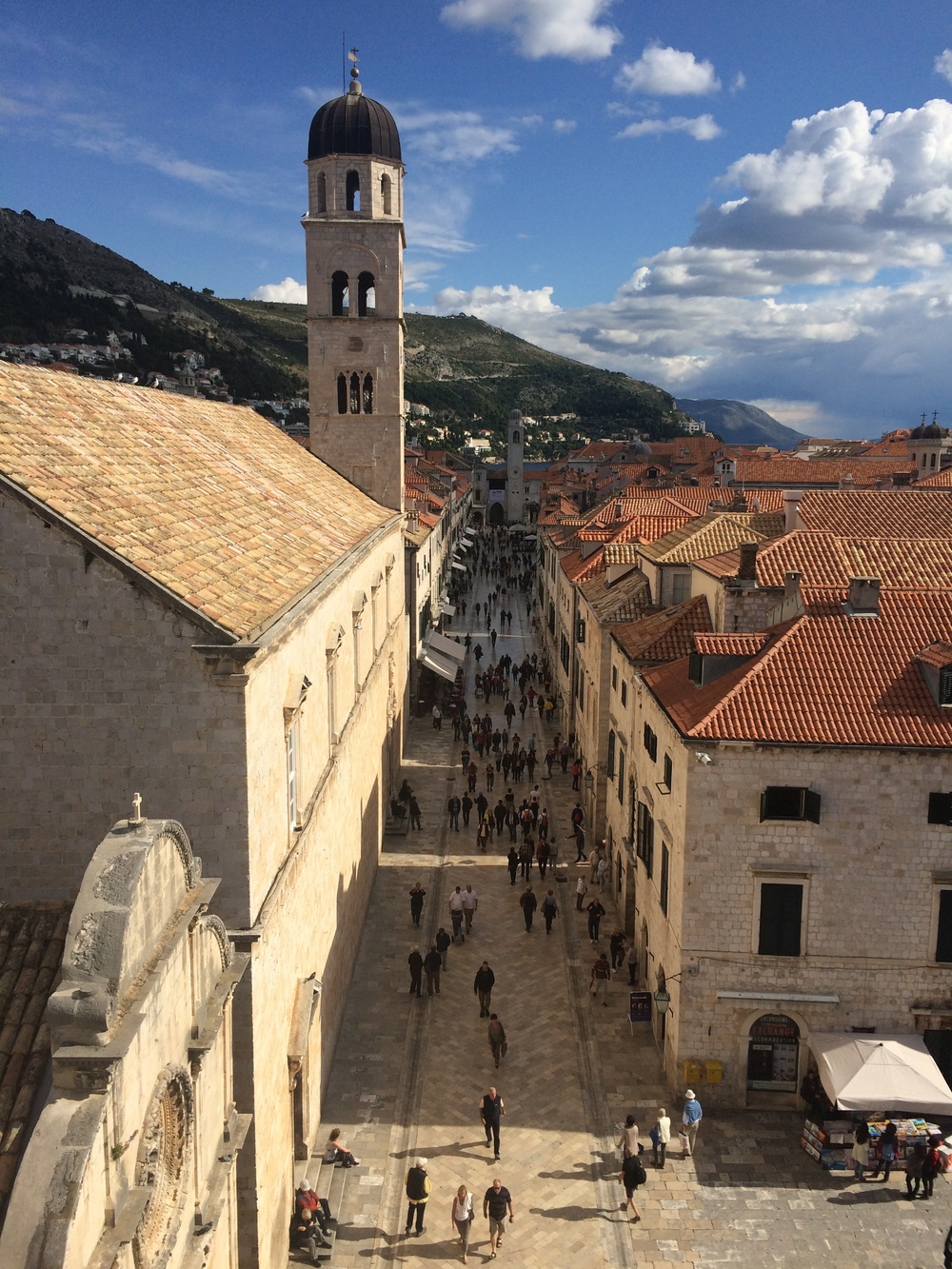 View of the main promenade in Dubrovnik, Stradun Street, from the city walls.