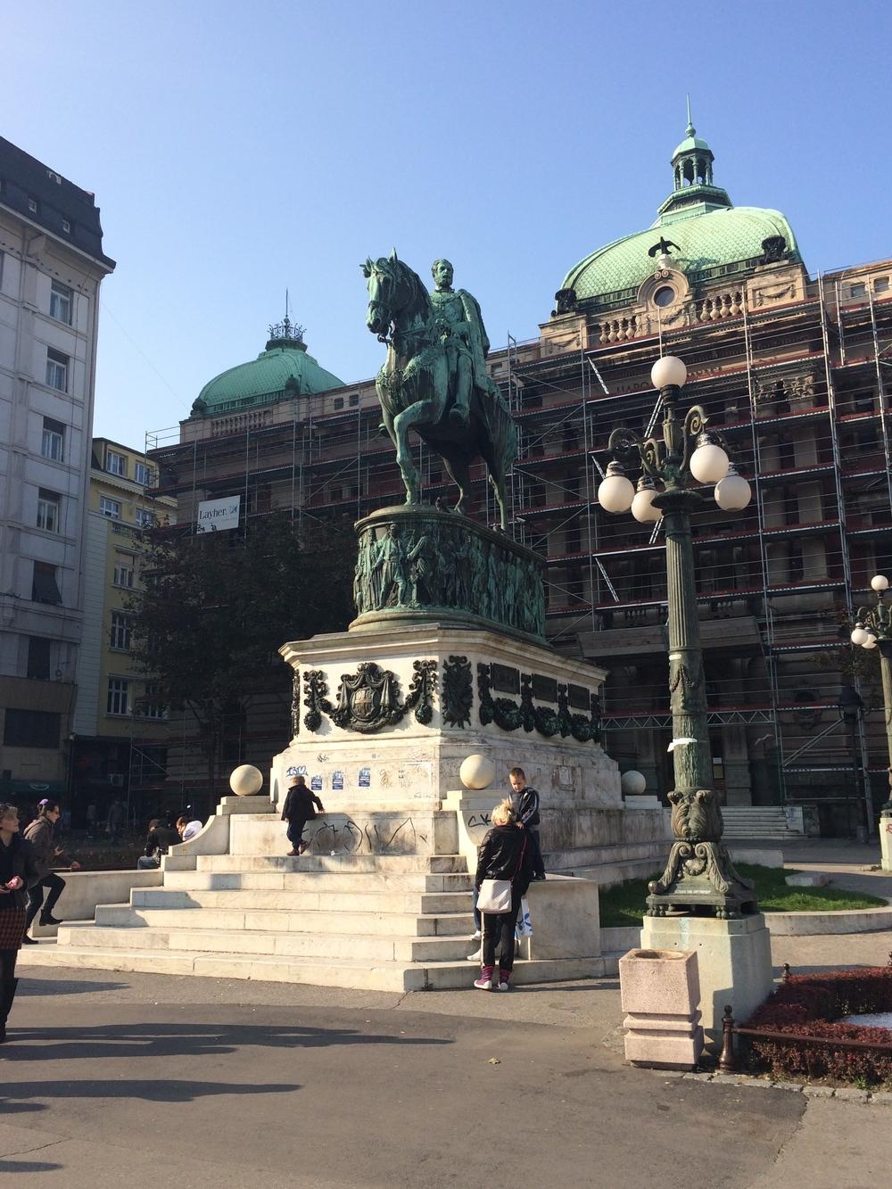 The statue of Prince Mihailo in Republic Square.