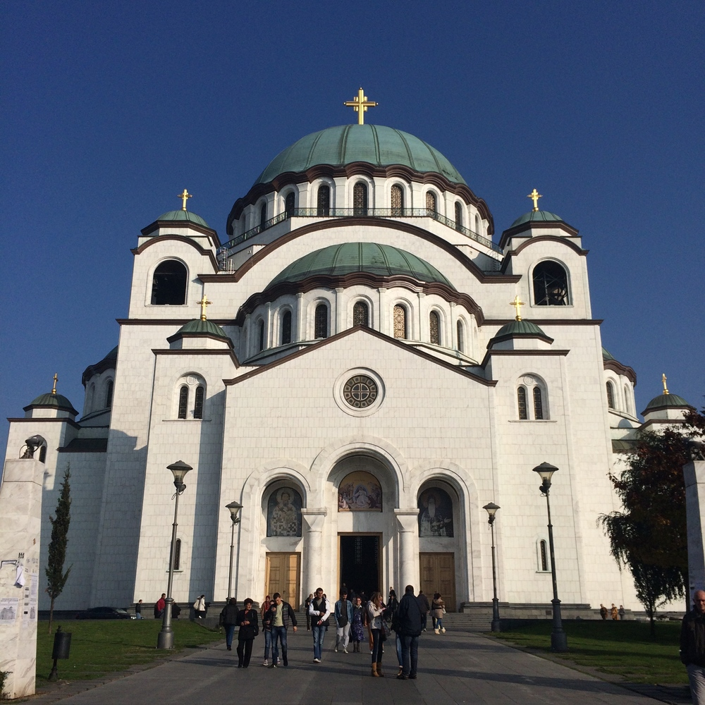 View of the massive domed St. Sava cathedral.