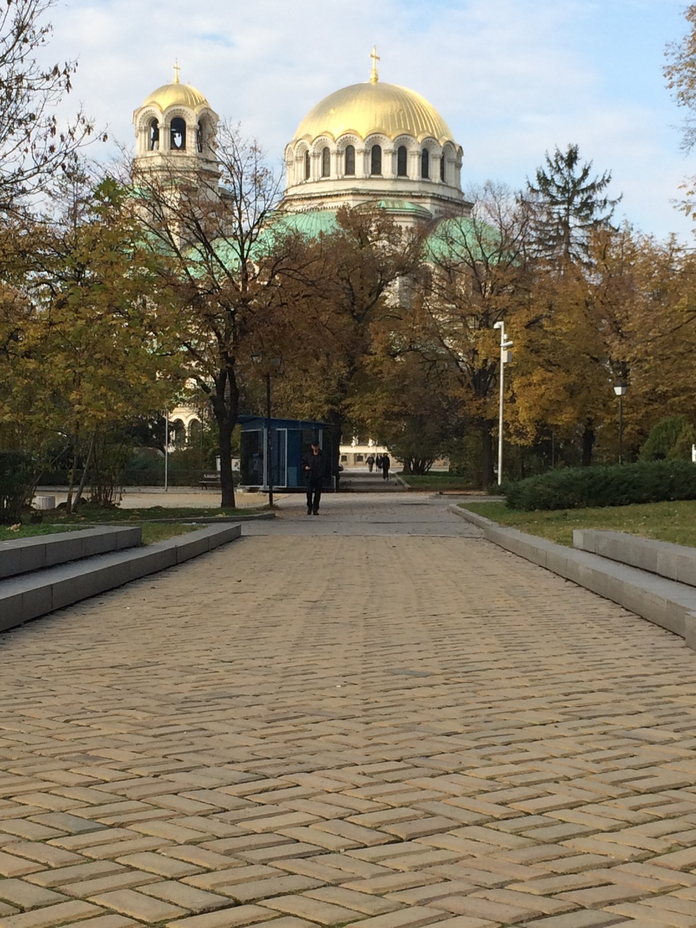 Sofia's famous yellow brick road leading up to Alexander Nevsky Cathedral.