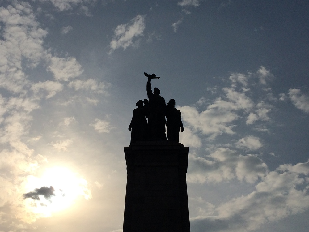 The Monument of the Soviet Army of Sofia in the setting sun.