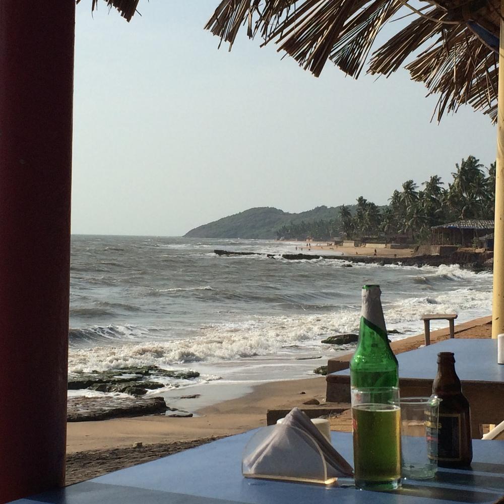 Relaxing on Anjuna Beach in Goa, India.
