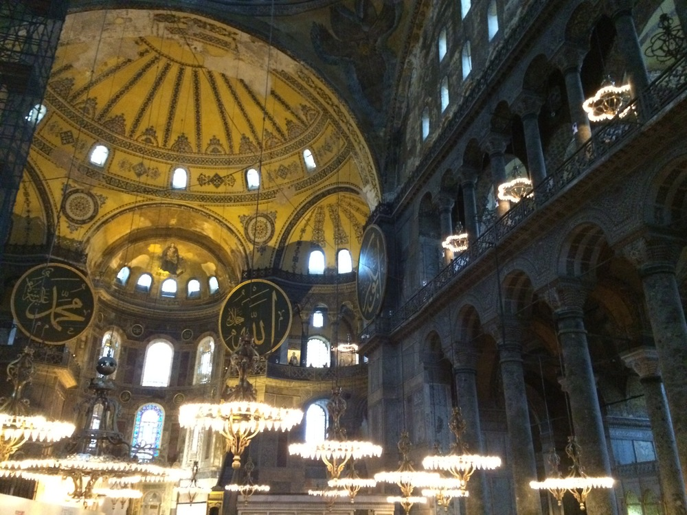 The interior of the Hagia Sophia.