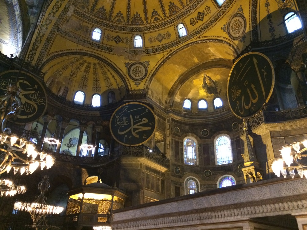 The main alter (mihrab) of the Hagia Sophia. I love the juxtaposition of the Virgin Mary mosaic next to Arabic calligraphy..