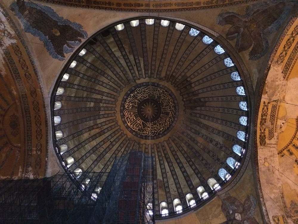 View from under the main dome of the Hagia Sophia.
