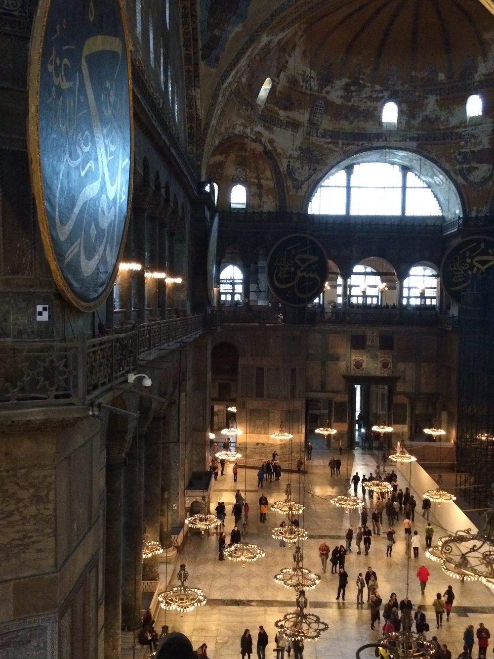 View of the Hagia Sophia from the second story facing away from themihrab(altar).