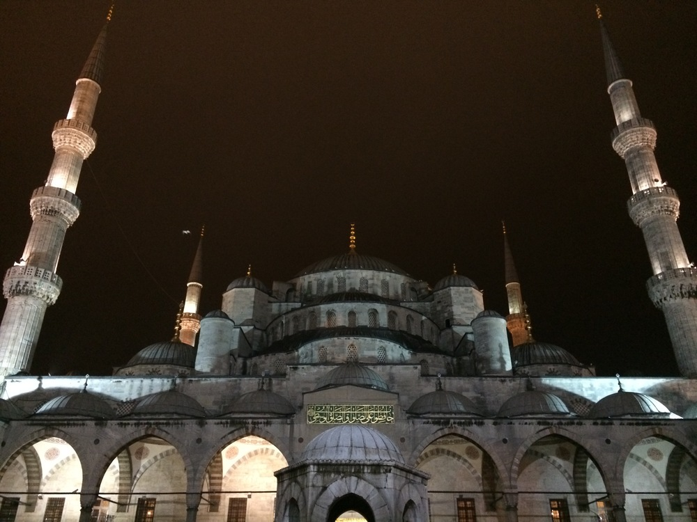 The Blue Mosque at night.