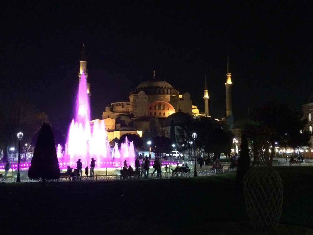 The Hagia Sophia at night.