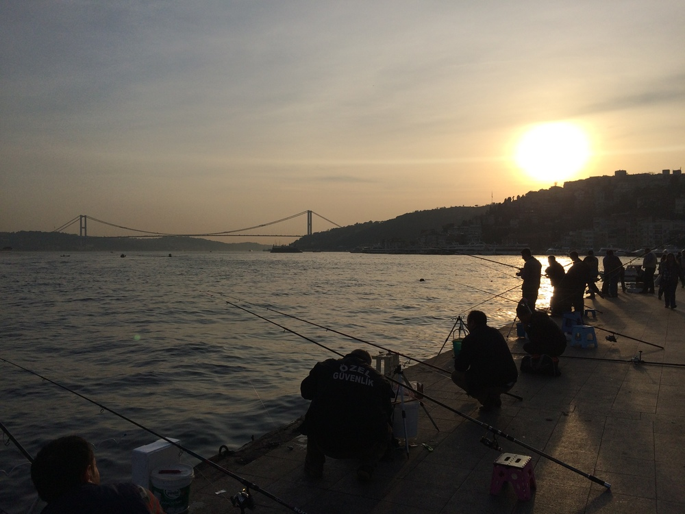 Fishermen along the Bosphorus in Babek.
