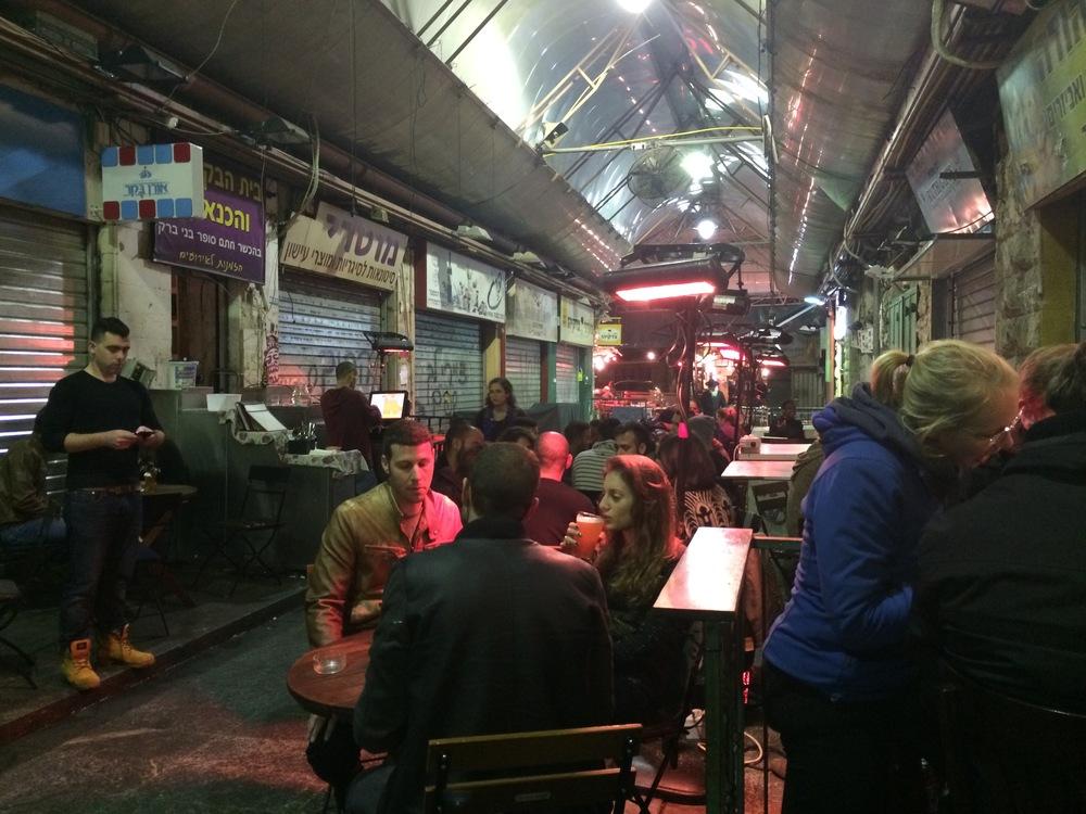 Mahane Yehuda Market at night.