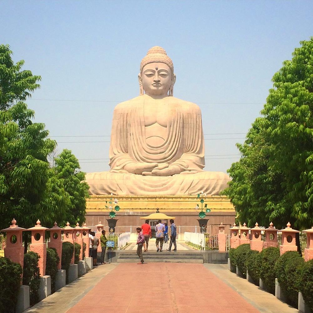 Giant buddha statue in Bodh Gaya, India.