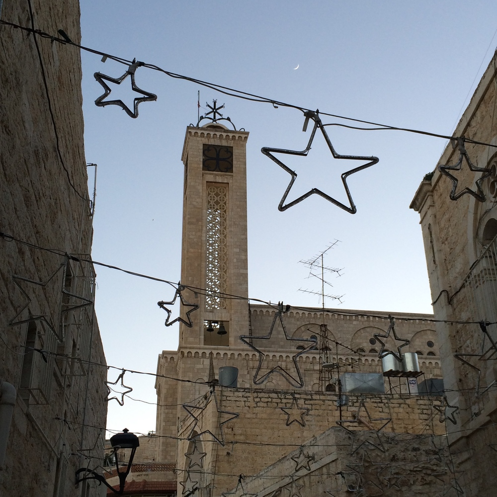 Christmas lights in the streets of Bethlehem.