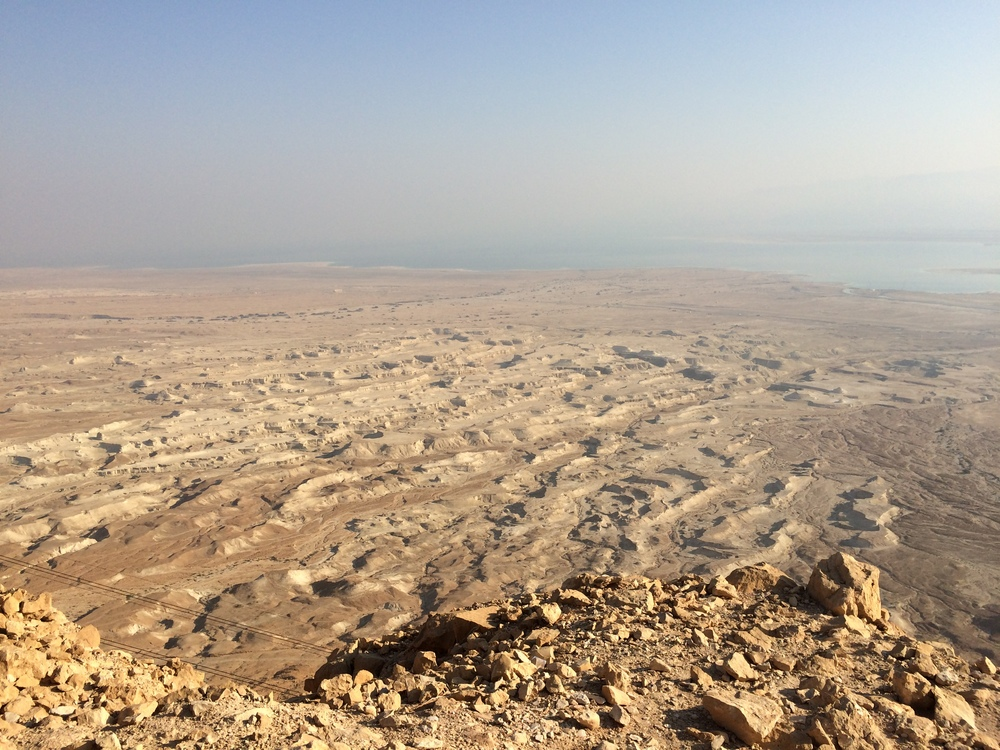 View from the top of Masada with the Dead Sea in the background.