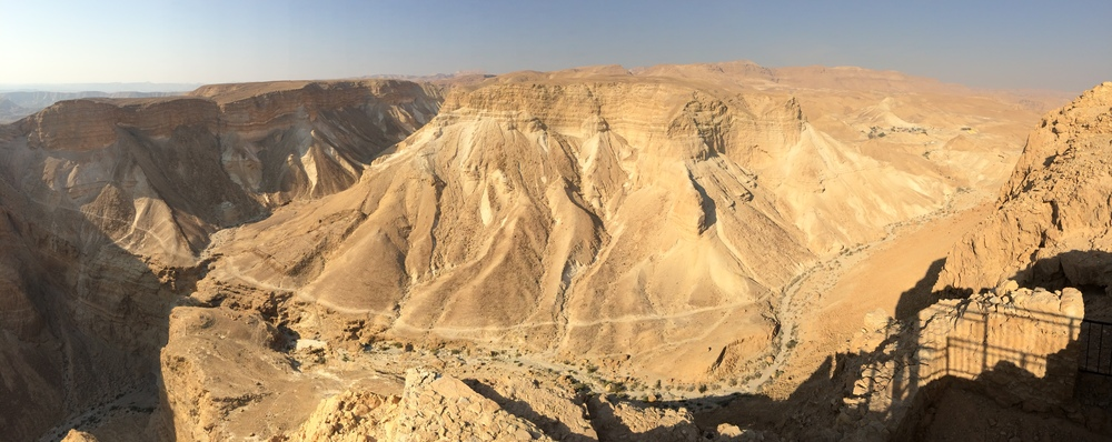 View of the barren landscape at the top of Masada.