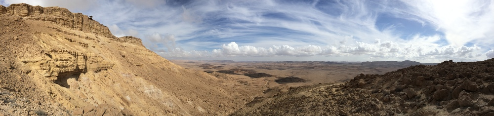 Panoramic shot of the giant crater Makhtesh Ramon I hike the following day..