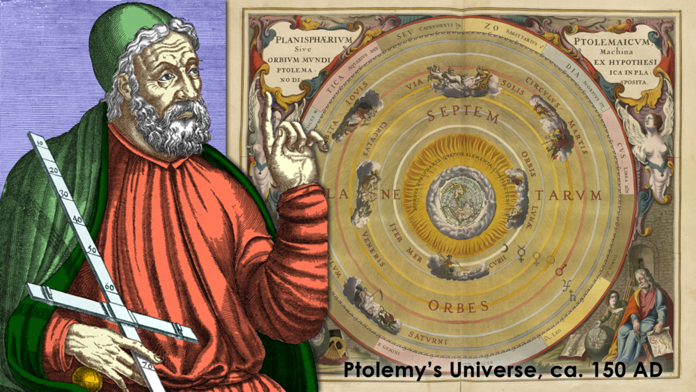 Ptolemy's geocentric universal model was accepted for centuries before Copernicus instead put the sun at the center of the universe...which, of course, was also woefully incorrect.