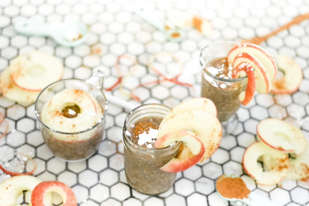 Vegan Apple Cinnamon Chia Seed Pudding with Good Karma Flax Milk