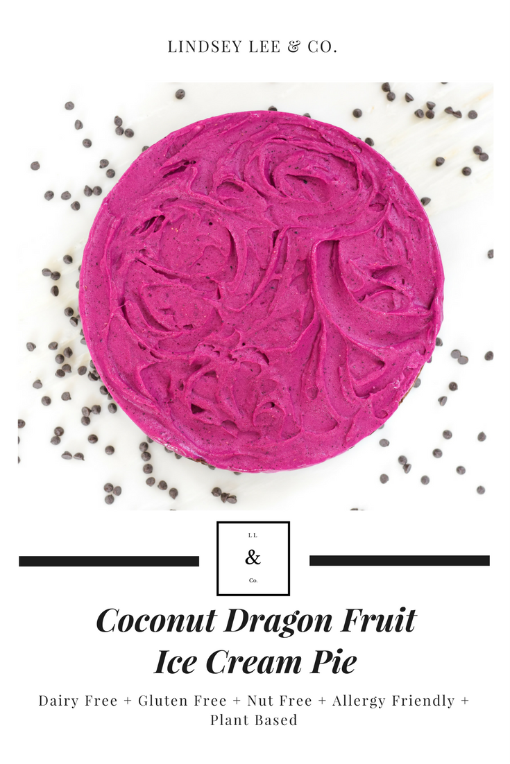 Dairy free ice cream pie. Coconut dragon fruit gluten free ice cream pie