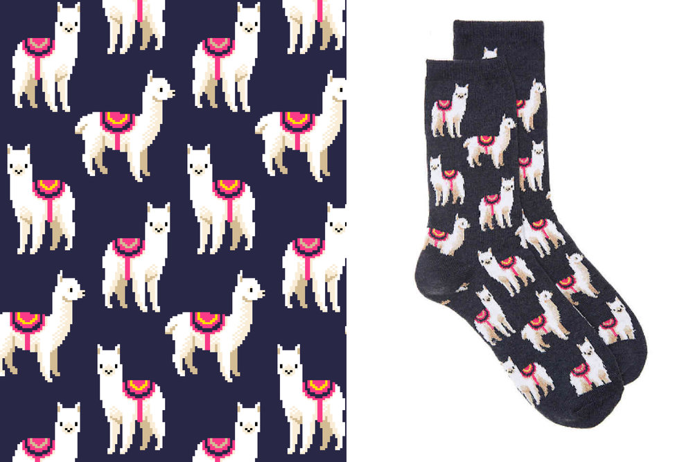 Llama pattern designed for the Hot Sox Fall 2017 collection