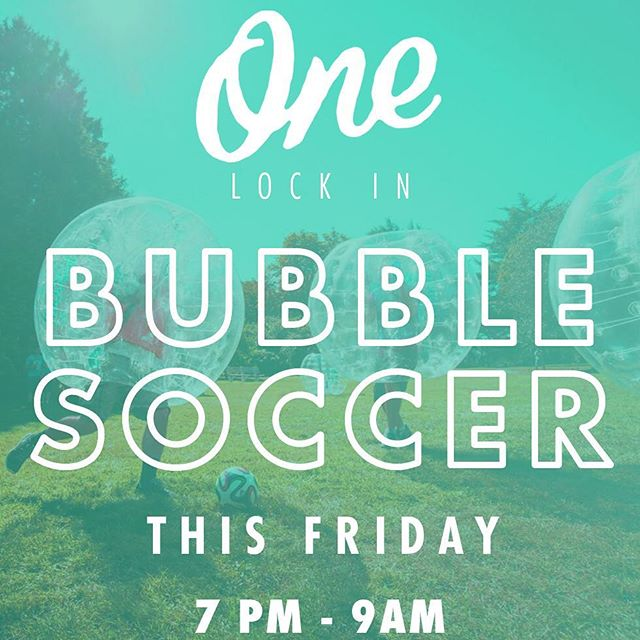 It's almost here!! 😱 Bubble Soccer Lock-In is this Friday night!! Register at thec3church.com!