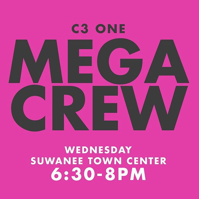 Don't forget about Mega Crews happening tomorrow at Suwanee Tow Center!!!!!!