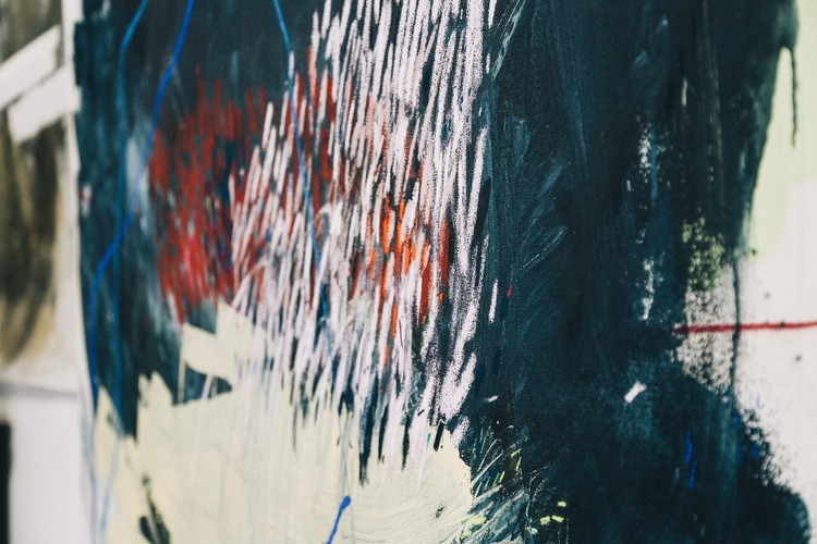 Detail shot of Heather Day's painting