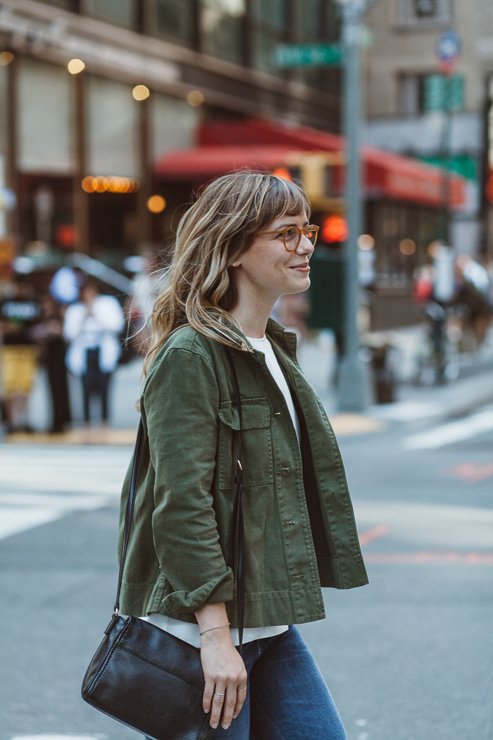 Pictured: Everlane Tee , Madewell Cropped Jacket, and Citizens of Humanity Crop Jeans