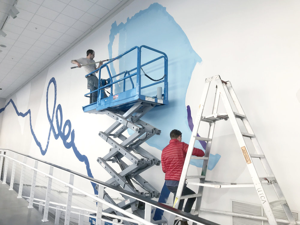 Painting the Pantone Color of the Year mural at the Urban Institute of Contemporary Art