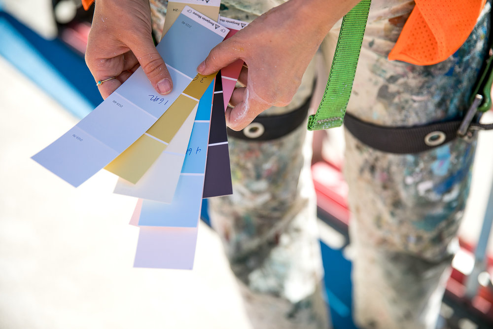 Heather Day looks through color swatches at Provenance Vineyards in Napa Valley