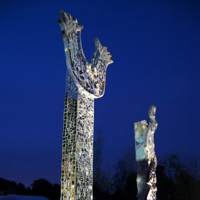 Dawn's Mosaic totems Urban Oasis 2010.JPG