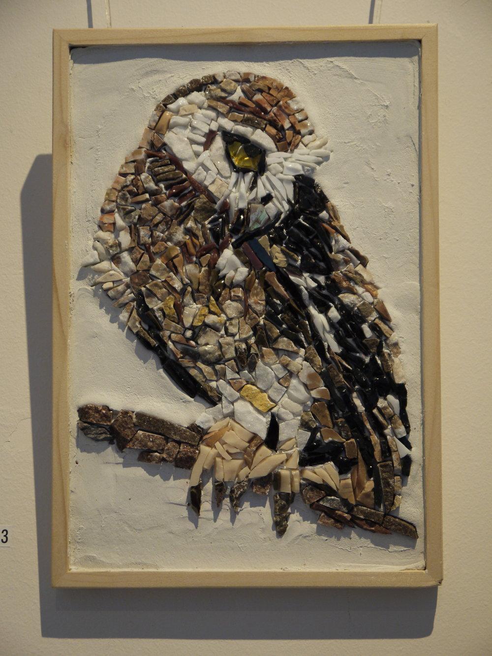 'Owl' mosaic Venetian smalti, Italian limestone and carrera marble